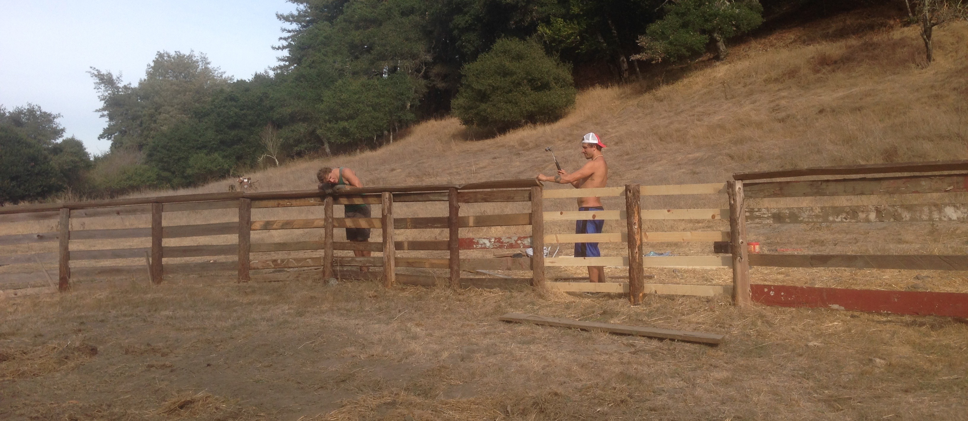 My brothers Ryan and Damian eying up the perfect fence alignment.