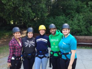 Mikayla, Maya, Karli, Stanley, and Brickell gearing up for Ropes Course Training!